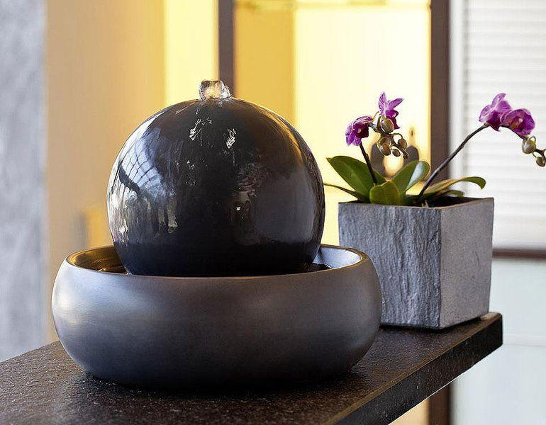 tischbrunnen seliger zimmerbrunnen rono 20060 keramik brunnen anthraz pumpe