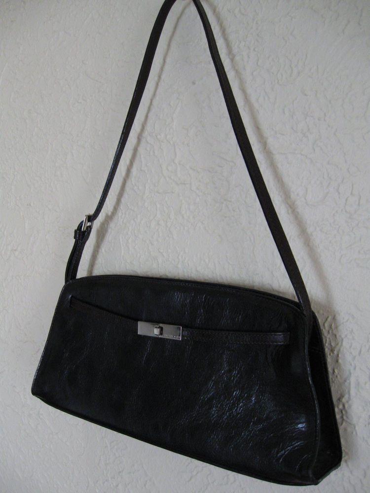 Peter Kent Classy Elegant Dark Brown Leather Purse Shoulder Handbag #ShoulderBag
