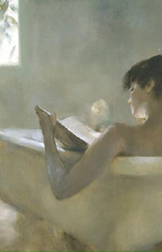 Chen Bolan (b.1955) — Reading in the Bath (570×883) | Reading a Book ...