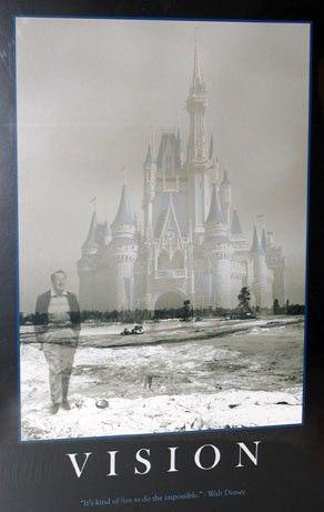 Walt Disney Inspirational Poster Vision Poster Large Walt And