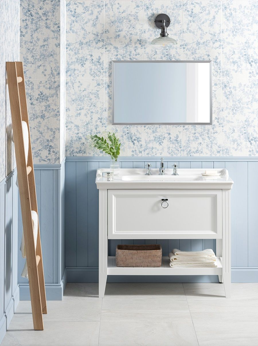 A Fresh Pale Blue Bathroom And How To Get The Look Country Inspired Bathrooms Decorative Tile Tiles