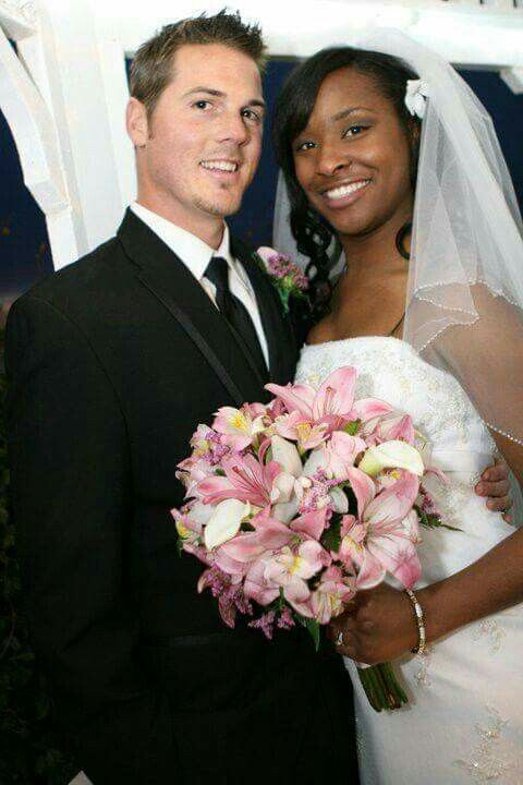 Beautiful Interracial Couple On Their Wedding Day Love  -2919