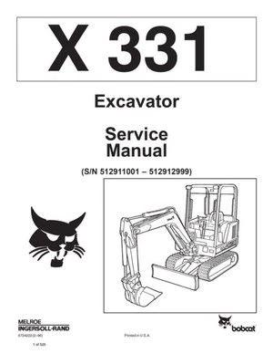 Bobcat X331 Hydraulic Excavator (S/N 512911001- 512912999