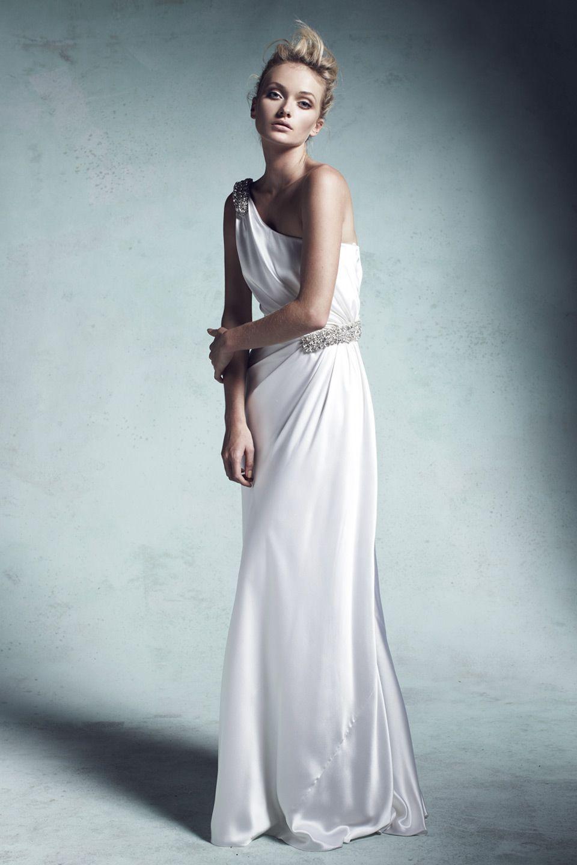 This was almost my wedding gown. :) Olivia silk satin asymmetric ...