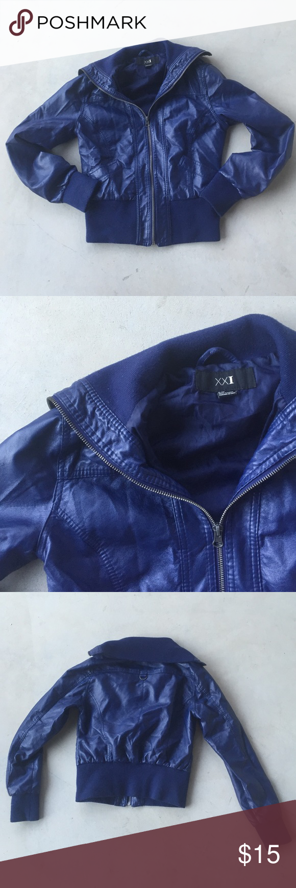 Forever 21 blue bomber jacket Awesome royal blue bomber jacket from forever 21. No flaws Forever 21 Jackets & Coats