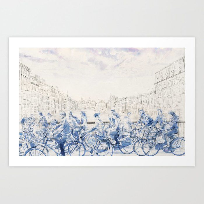 Amsterdam cyclists Art Print
