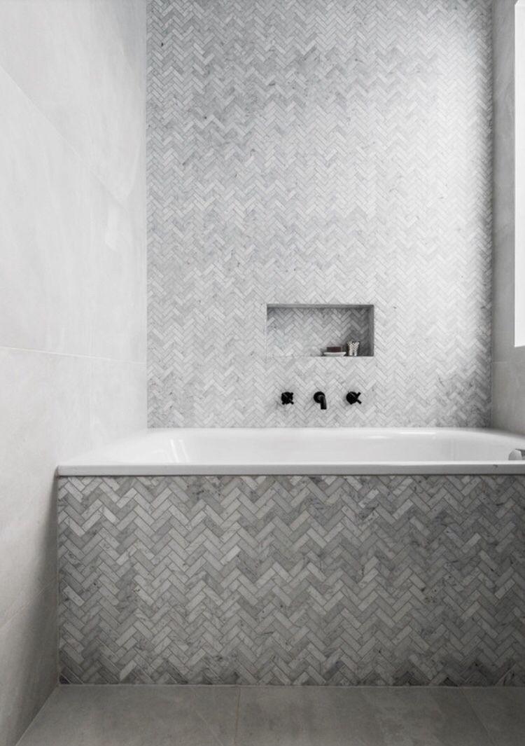 Herringbone Tiling Herringbone Bathroom Tiling Grey Marble Feature Tile Feature Wall Around Bath Herringbone Tile Bathroom Bathroom Feature Wall Tile Bathroom