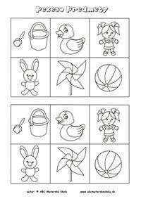 Rôznorodé predmety - pexeso  - pracovný list z ABC materská škola