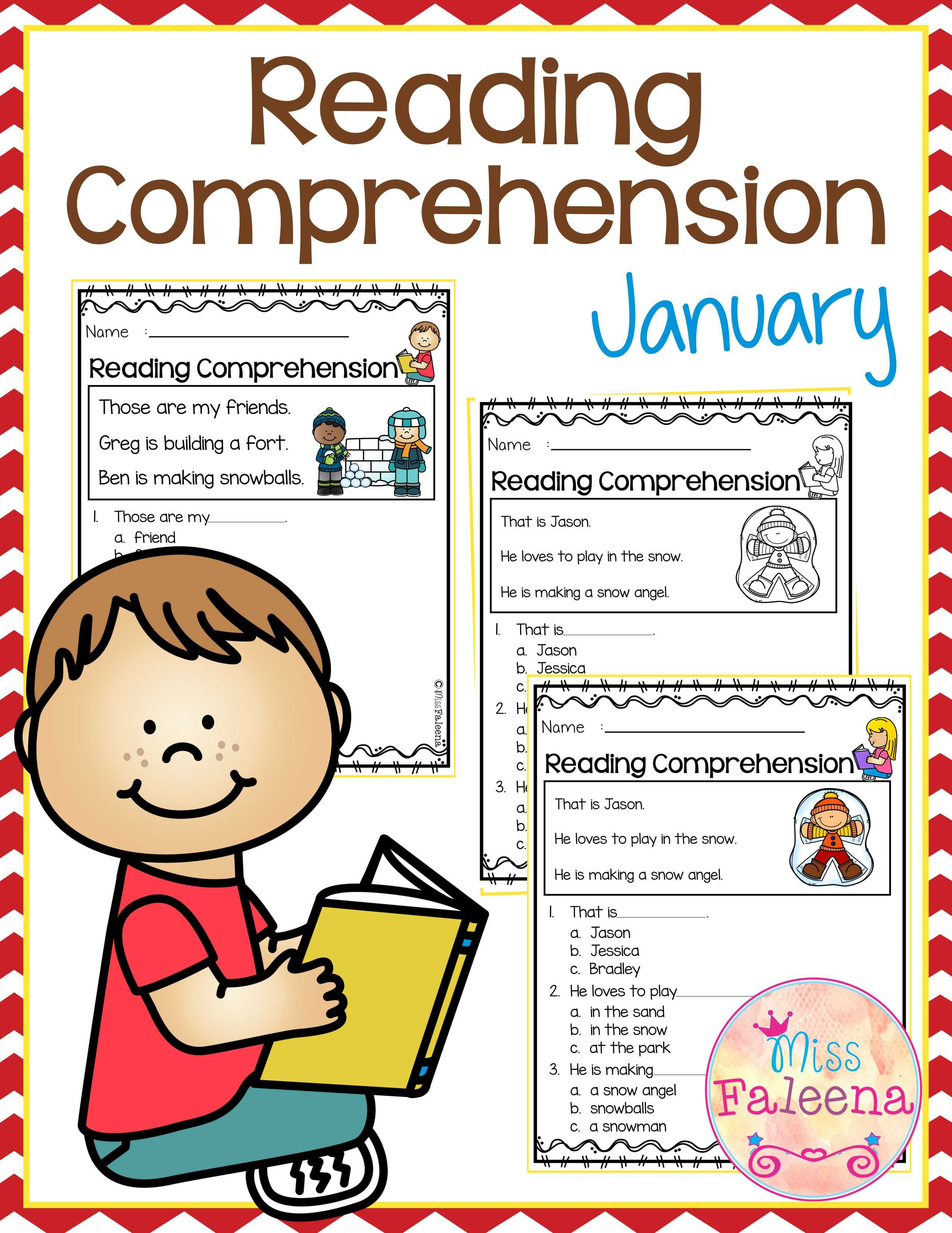 January Reading Comprehension Is Suitable For Kindergarten Students Or Beginning Readers T Reading Comprehension Reading Comprehension Worksheets Comprehension [ 3300 x 2550 Pixel ]