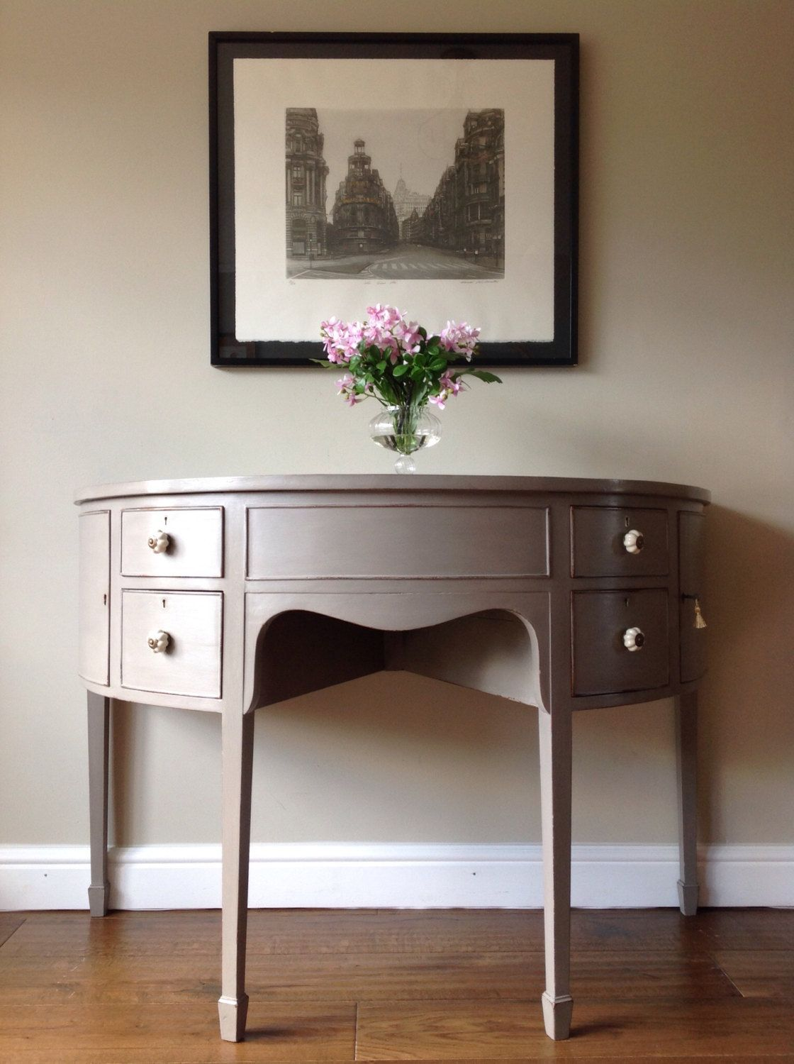 painted office furniture. Antique Edwardian Mahogany Half Moon Hall Side Table / Office Desk Bedroom Dressing Painted Grey Annie Sloan French Linen By ClyneCoFurniture On Furniture O