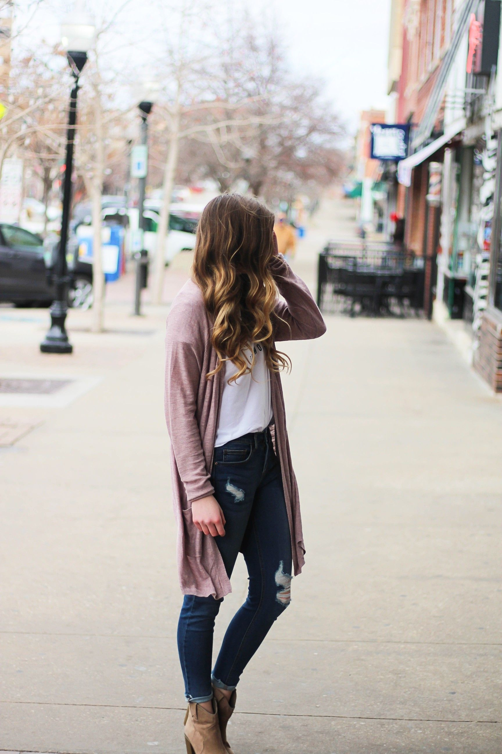 The cutest purple/pink cardigan for spring paired with my Oh ...