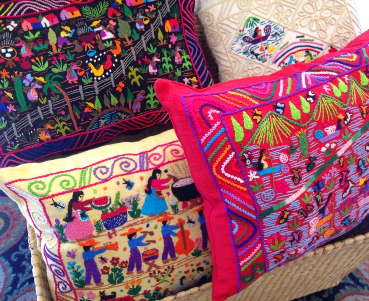 Near Lake Patzcuaro In Michoac N Indigenous Women Embroider  # Muebles Michoacan