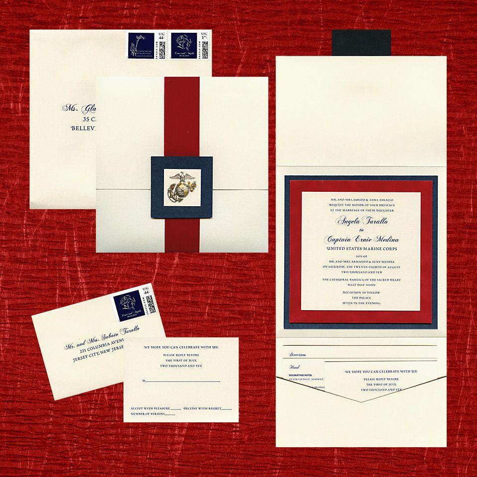 opal metallic pocket invite, 3 layer invite, navy metallic paper ...
