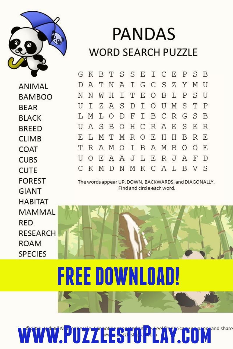 Pandas Word Search Puzzle Word Puzzles For Kids Kids Word Search Free Printable Word Searches [ 1200 x 800 Pixel ]