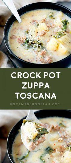 Crock Pot Zuppa Toscana! This crock pot zuppa toscana soup is an Olive Garden co... - New Ideas #zuppatoscanasoup