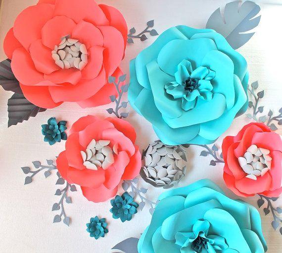 Orden de encargo de flor de papel pequeo fondo por paperandpeony extra large paper flower backdrop teal and coral custom order mightylinksfo