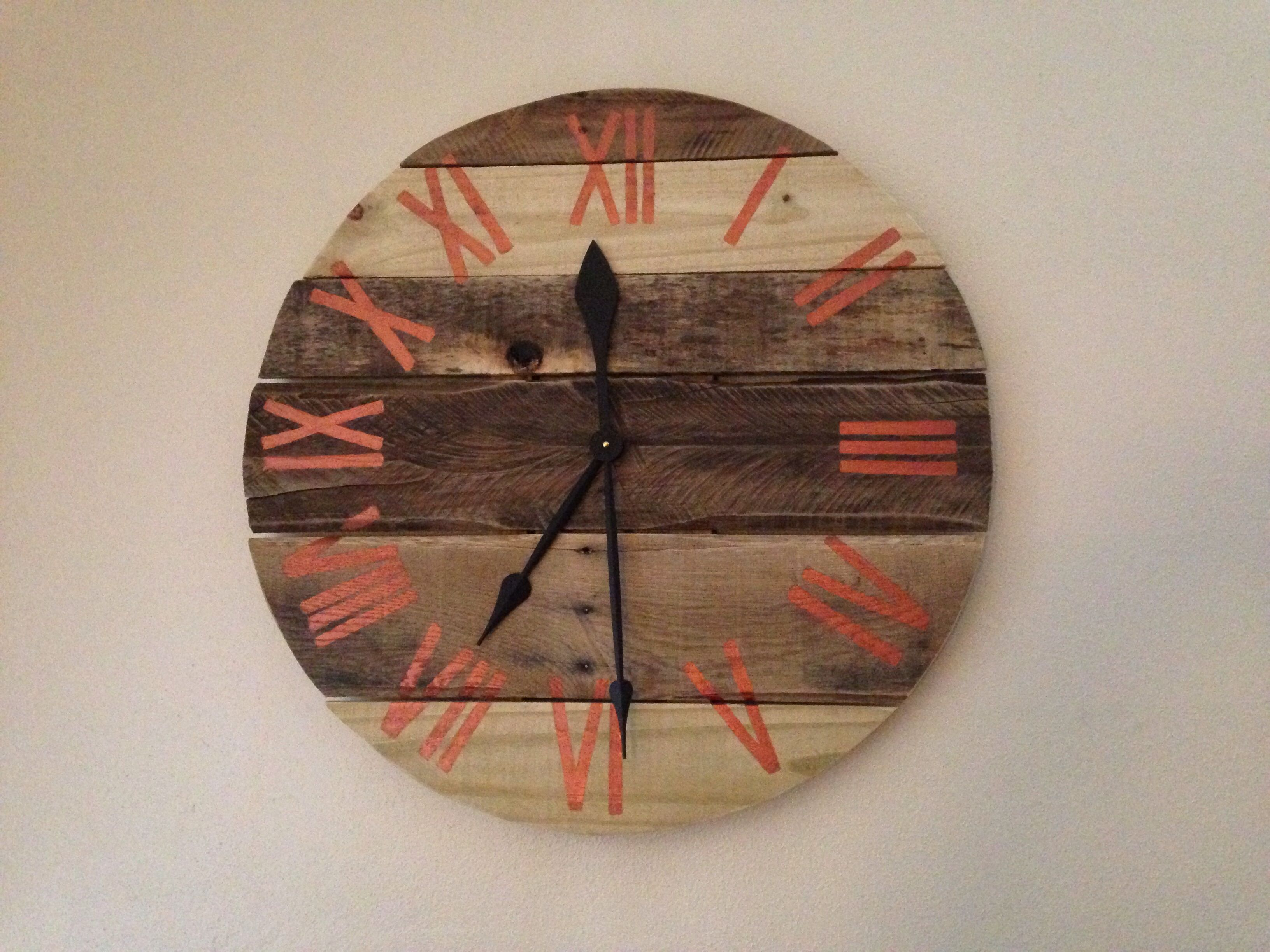 Pallet clock with roman numerals easy diy with leftover wood and a pallet clock with roman numerals easy diy with leftover wood and a clock kit solutioingenieria Choice Image