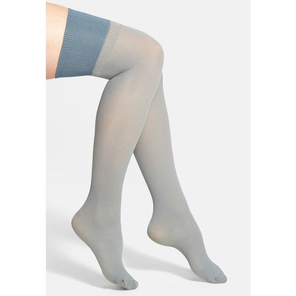 cdd4cc319cbf2 Pretty Polly Rib Knit Over the Knee Socks ($7.50) ❤ liked on Polyvore  featuring intimates, hosiery, socks, pretty polly, metallic socks, pretty  polly ...