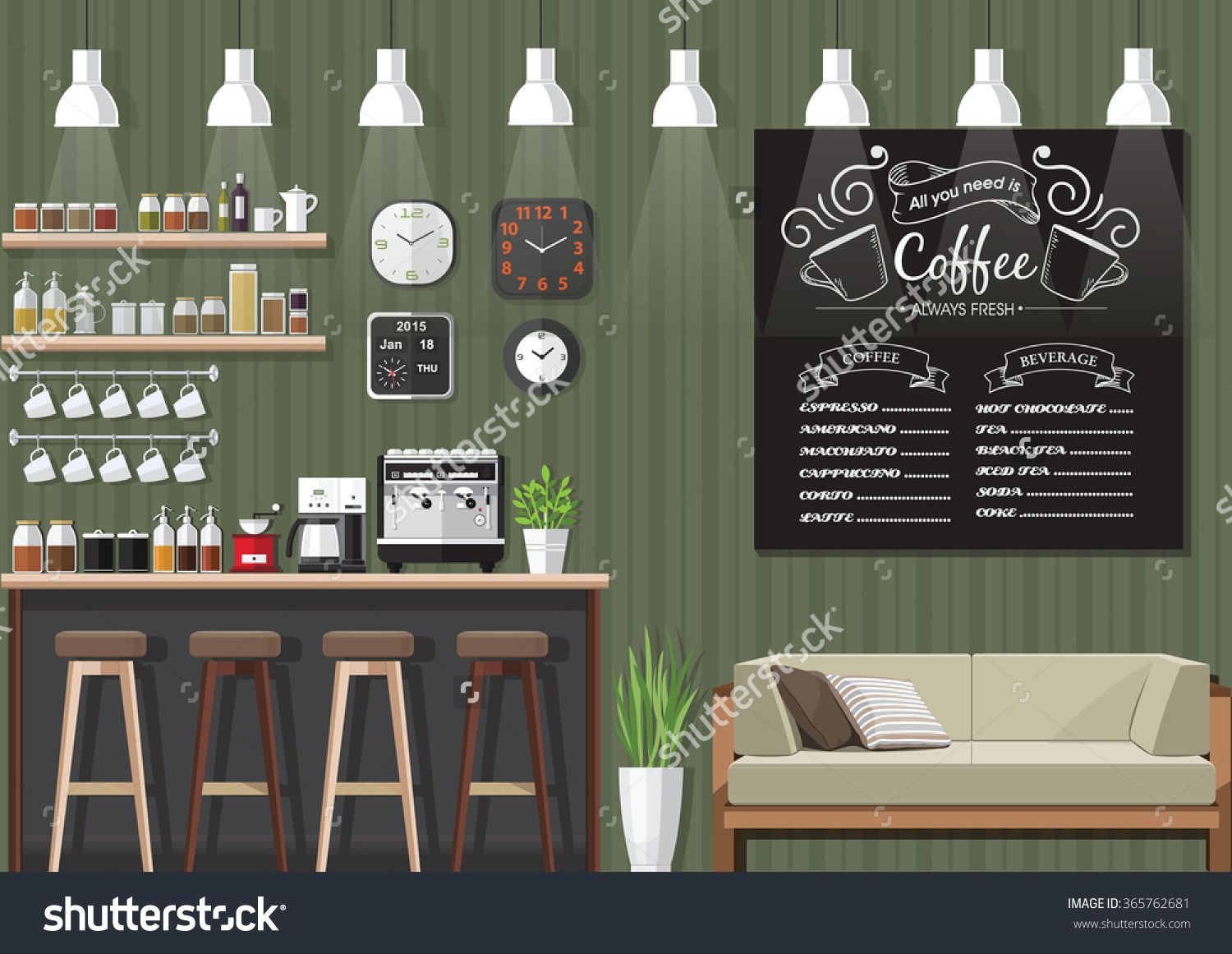 Modern Flat Design Coffee Shop Interior Vector