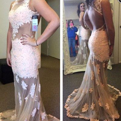 Sexy mermaid pink lace long dress prom dress evening dress 2016