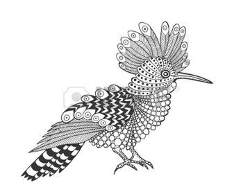 coloring pages print: stylized bird. Black white hand