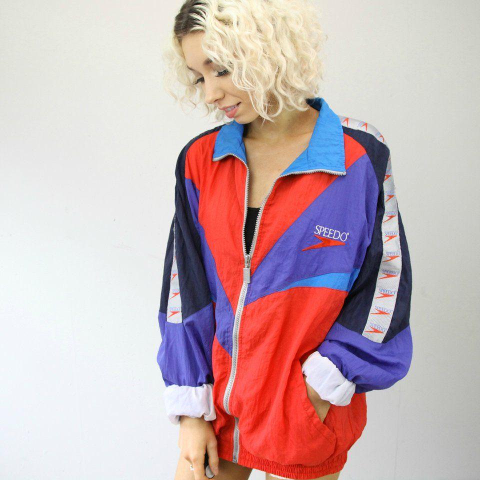 8b1dda12e6 SLUSH VINTAGE Speedo windbreaker shellsuit tracksuit trackie jacket coat  top oversized 90s 80s retro sportswear oversized