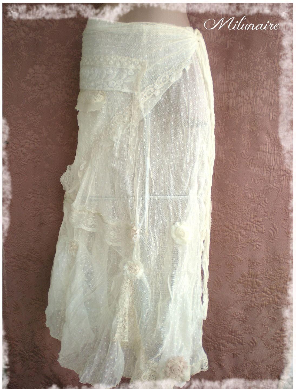 jupe longue boh me dentelles hippie ou boh mien chic jupe par milunaire mariage robes. Black Bedroom Furniture Sets. Home Design Ideas