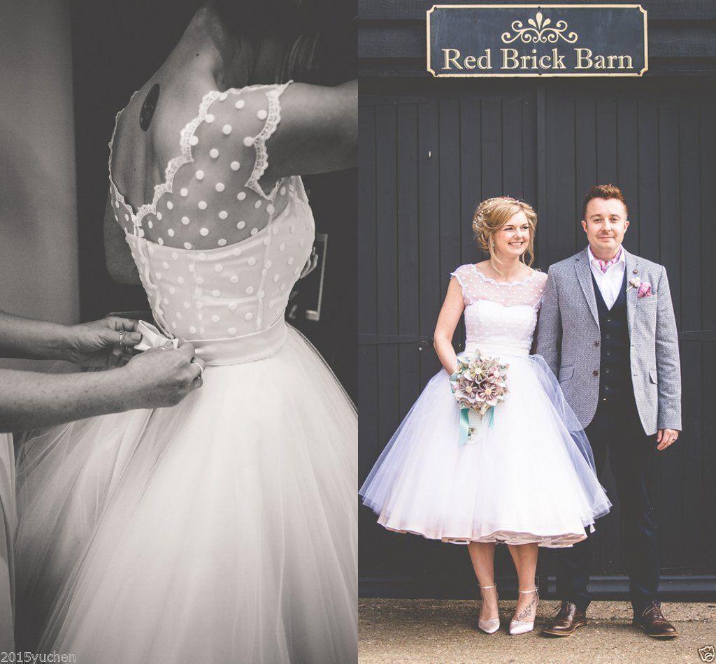 9.99 GBP - Short Wedding Dresses Vintage 1950S Polka Dotted Tea ...