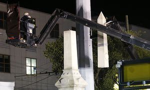 New Orleans takes down Confederate monuments under cover of