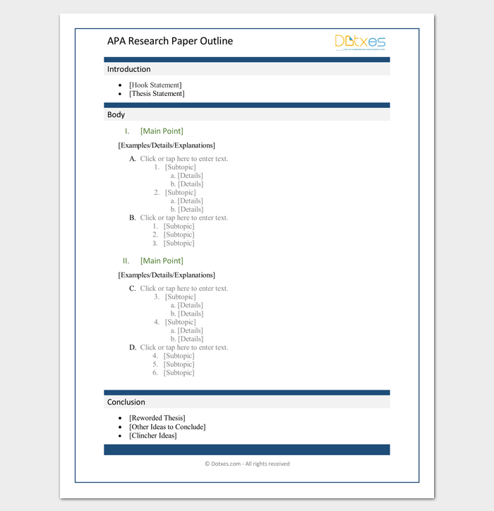 Apa Research Paper Outline Template Apa Research Paper