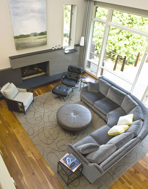 Aerial View Contemporary Family Rooms Basement