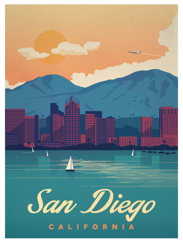 Vintage San Diego Poster Final Smaller Png By Alex Asfour Travel Posters Retro Travel Poster Vintage Travel Posters