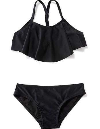 fd648f1893bba Shop swimwear for girls. Old Navy Girls Ruffled Twist-Strap Bikini For  Girls Ebony Size M (8)