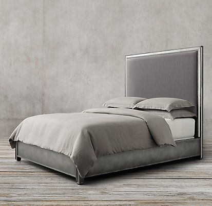 Strand Upholstered Bed Without Footboard Antiqued Mirror