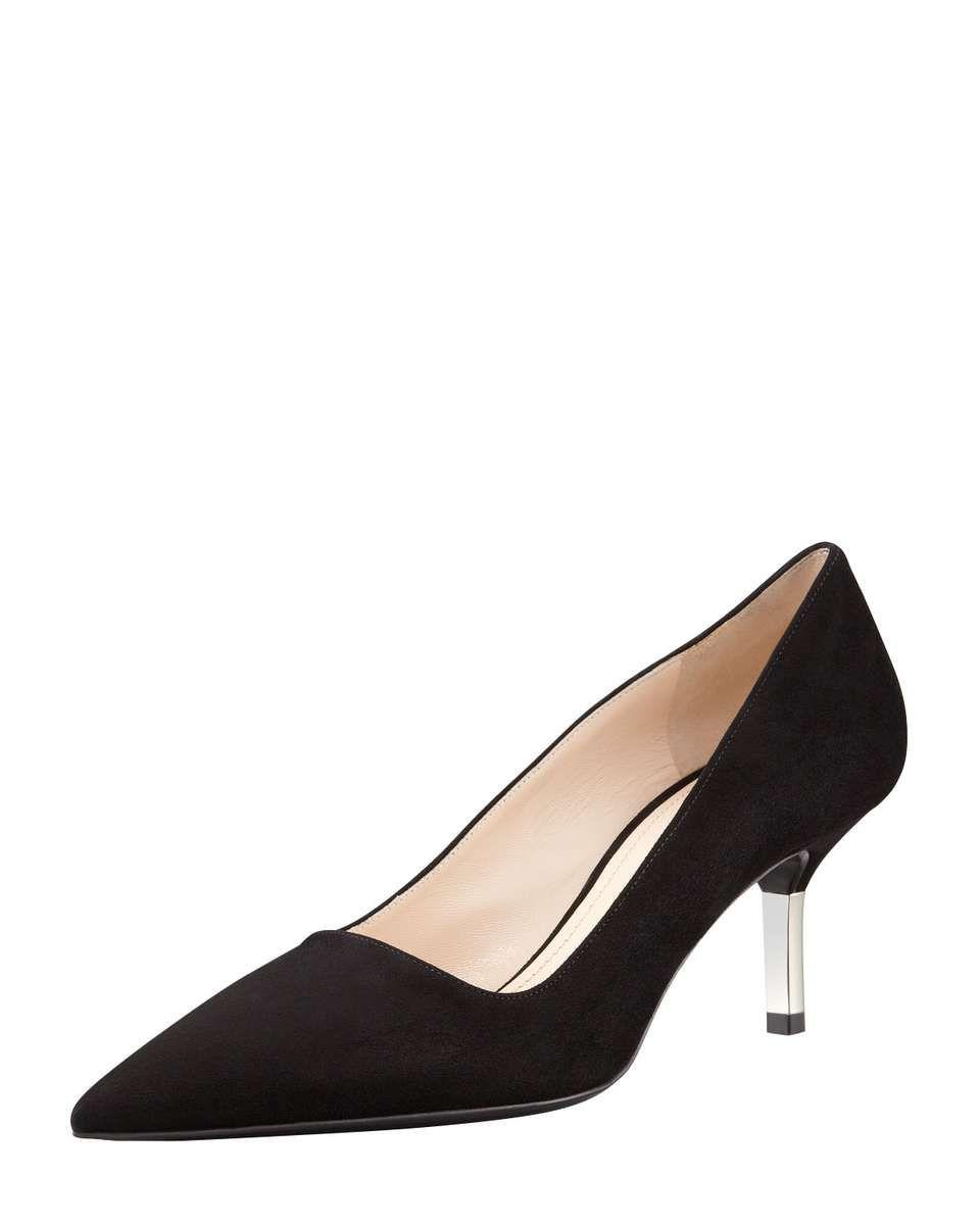 Prada Low Heel Suede Pointed Toe Pump Black Prada Womens Low Heeled Suede Pointed Tie Pumps Shoes Heels Black Kitten Heels Pointed Toe Pumps Heels Low Heels