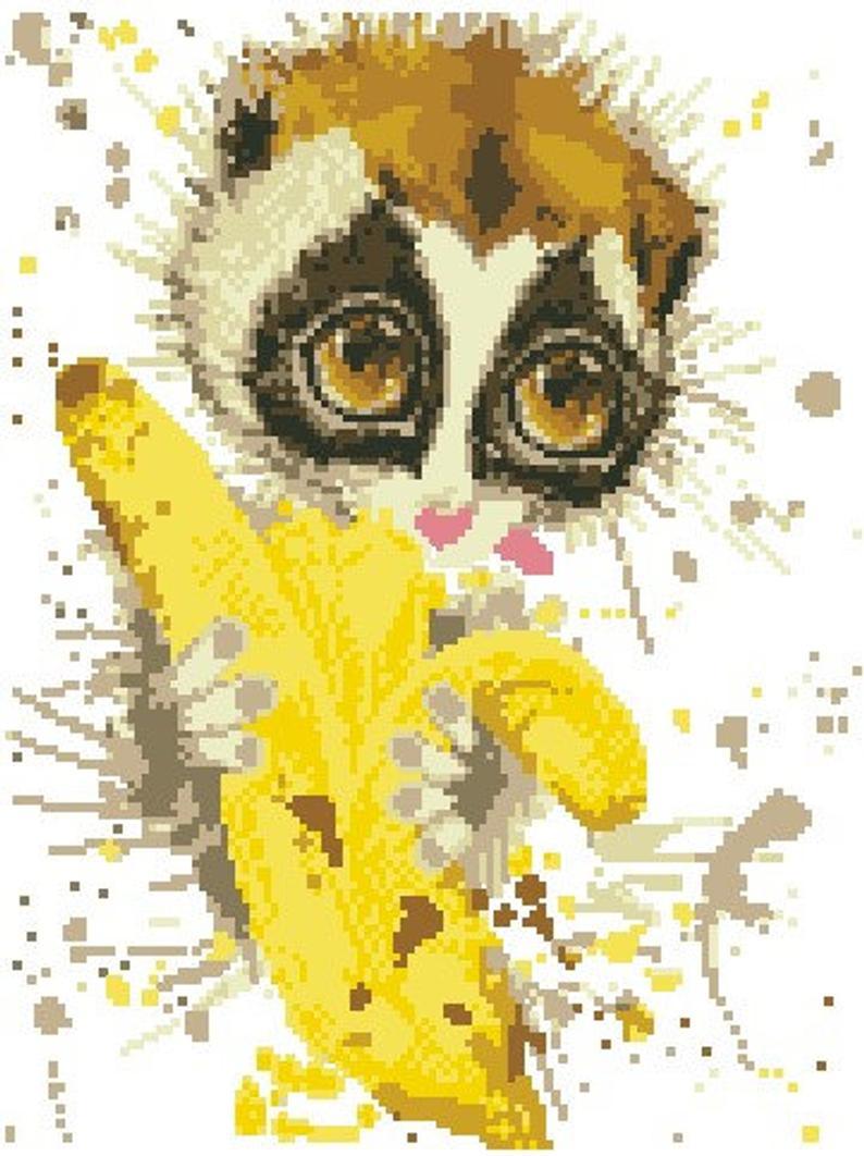 Lemur Watercolor Modern Cross Stitch Pattern, Cute Animal