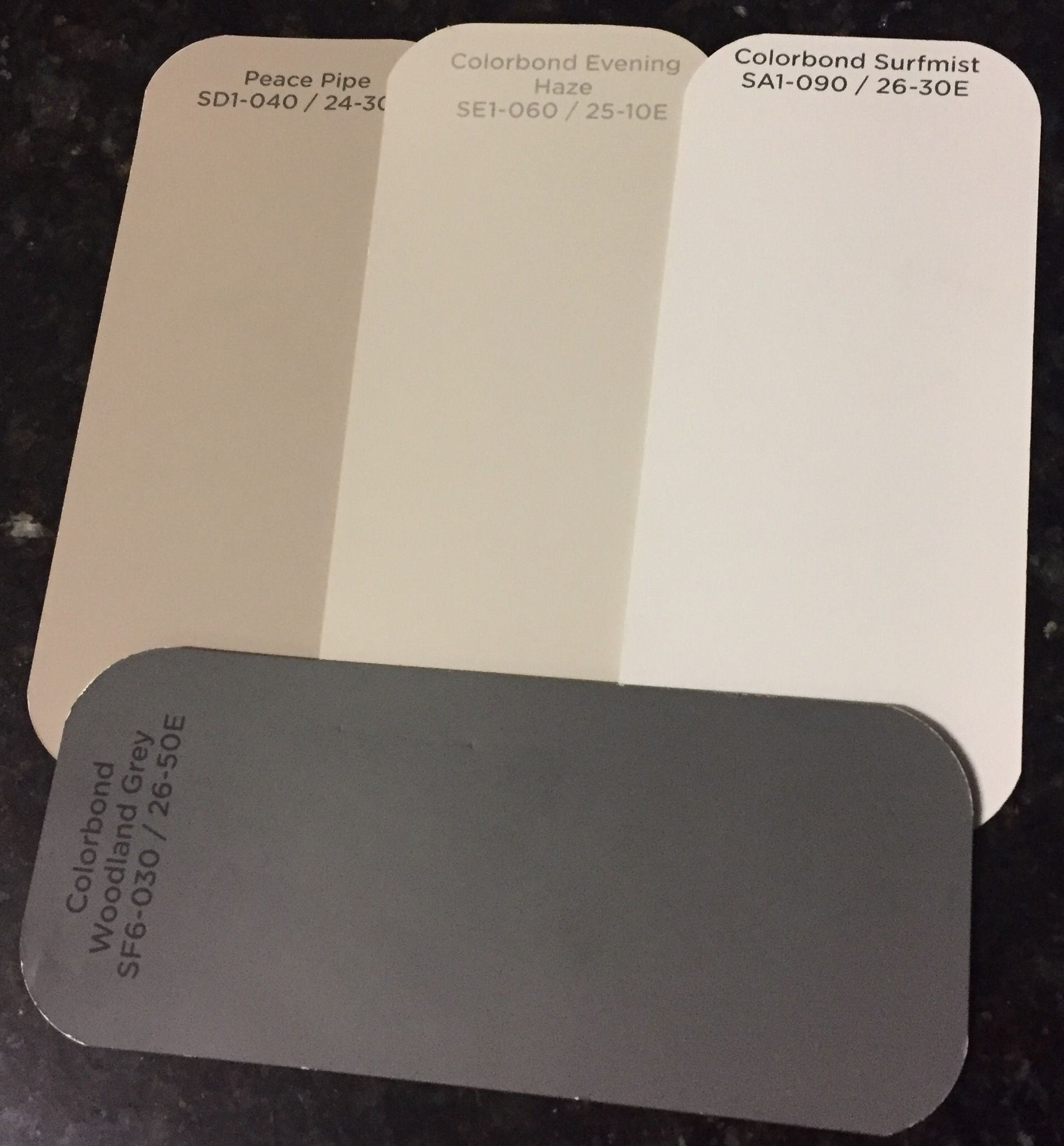 Colorbond roofing colours pictures to pin on pinterest - Peace Pipe Evening Haze Render Surfmist Garage Facia Colorbond Woodland Grey Roof