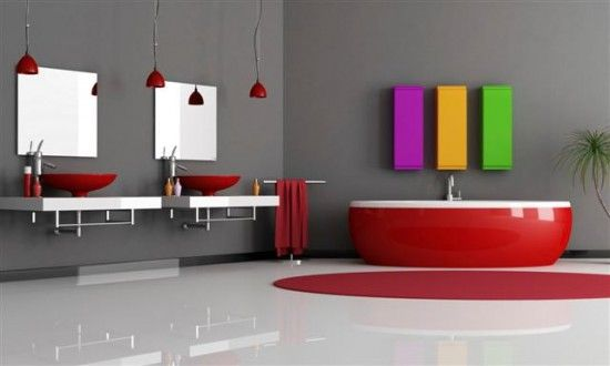 Modern bathroom desigs with black and red color of bathtub