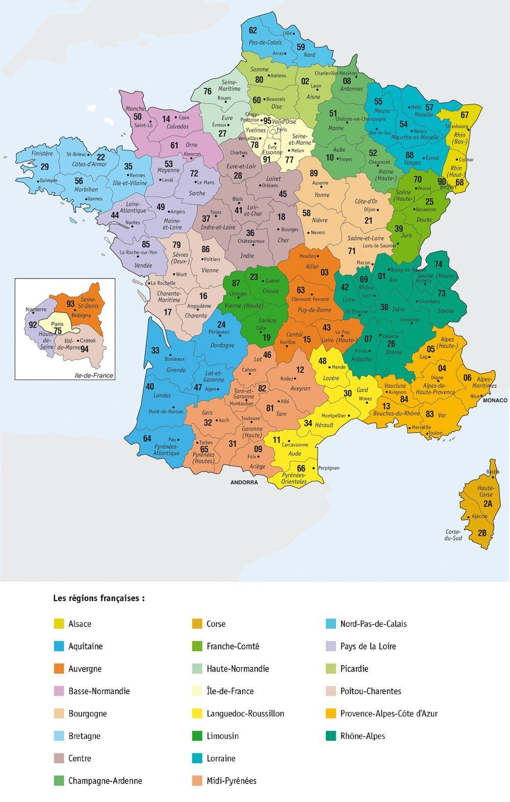 carte des départements de france 2020 Épinglé sur map