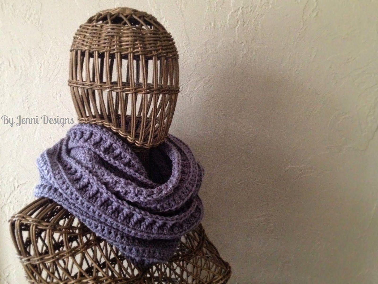 By Jenni Designs: Free Crochet Pattern: Textured Infinity Scarf ...