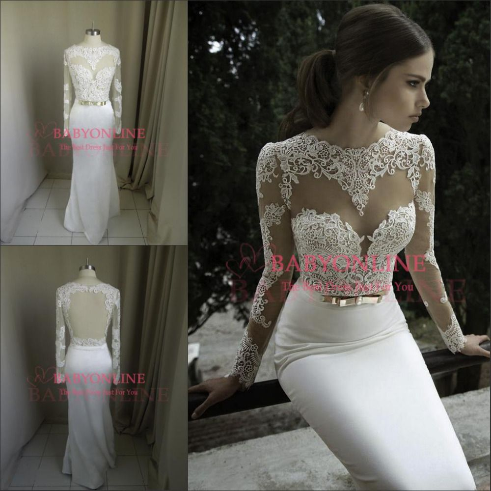 Vestidos De Noiva 2014 New Arrival Sexy Long Sleeves Sheer Lace ...