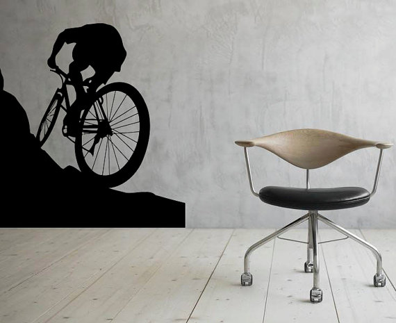 Mountain Bicycle Wall Decal Wall Vinyl Sticker Sport Bike Home
