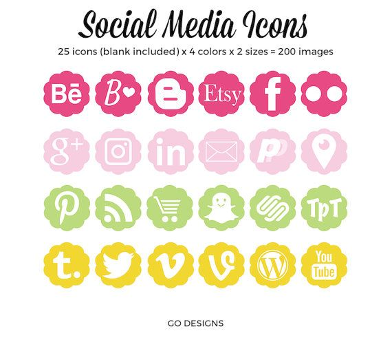 Social media icons vector icons blog buttons social media images social media icons flower shapes pink green by barbaraleyne mightylinksfo Choice Image
