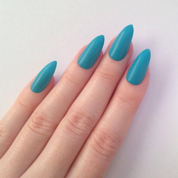 Matte Blue Stiletto nails Nail designs Nail by prettylittlepolish ...