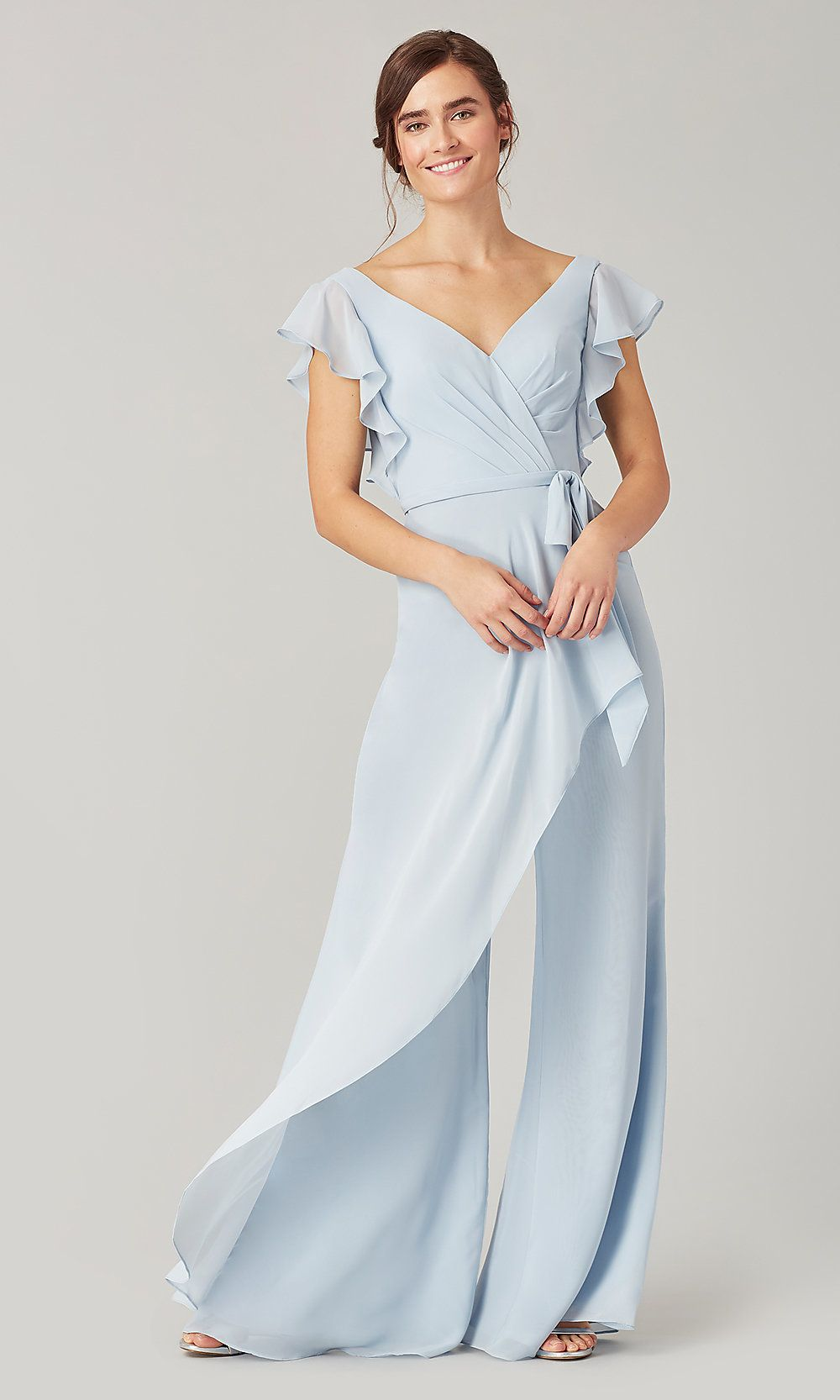 Short-Sleeve Long Bridesmaid Jumpsuit by Kleinfeld