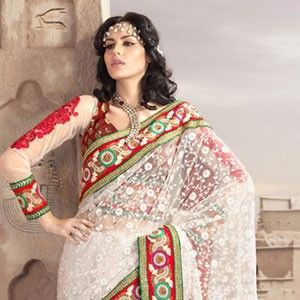 Adorable Brick Red Off White Embroidered Saree Artistic White A