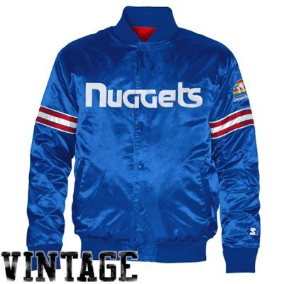 Denver Nuggets Starter Satin Full Button Jacket Royal Blue Jackets Mens Lightweight Jacket Dodgers Jacket