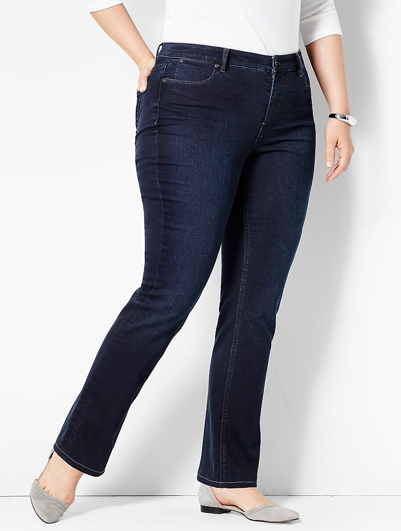 20a11bd179696 The Flawless Five-Pocket Straight-Leg-Portside Wash | Talbots Dark Denim  Jeans