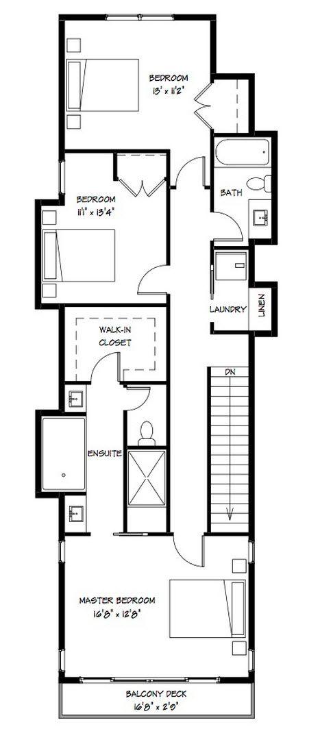 Diseño de moderna casa de dos pisos construida en terreno angosto ...