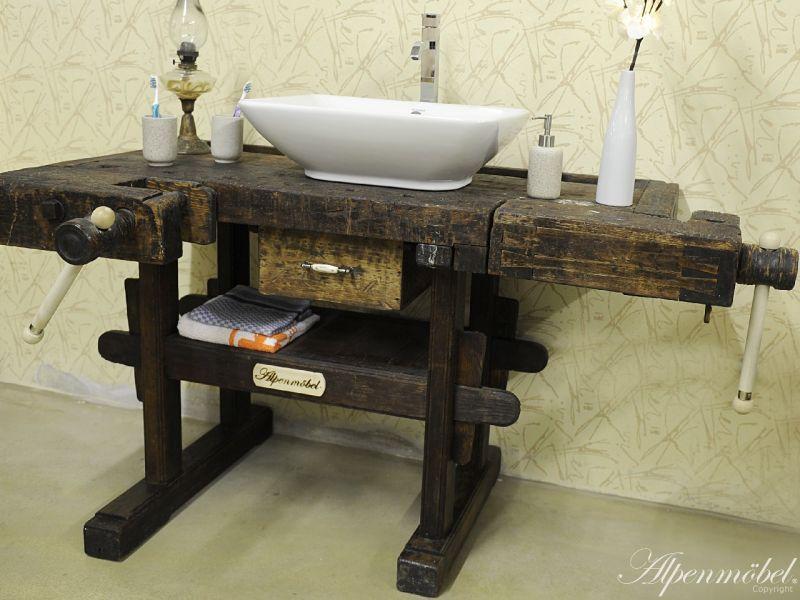 Antike Waschtische antike hobelbank umgebaut zum alpenmöbel waschtisch werkbank